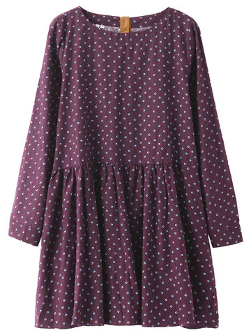 Mori Girls Polka Dots Printed Vestido de manga larga Mini