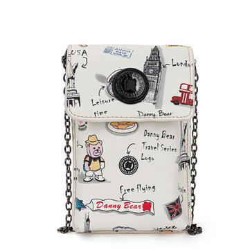 DANNY BEAR Cartoon Cute Phone Bag Bear Print Shoulder Bags
