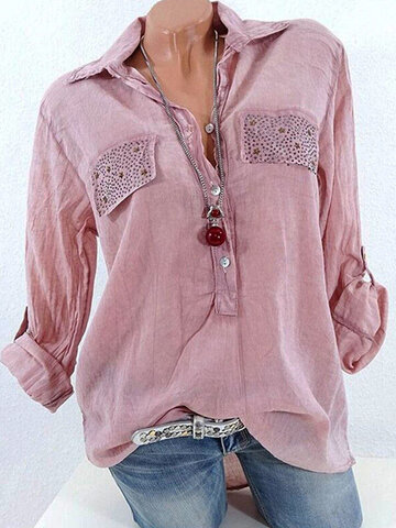 Casual Lapel Sequins Decorated Women Shirts