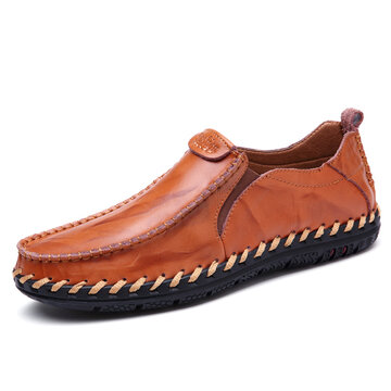 Men Cow Leather Hand Stitching Shoes
