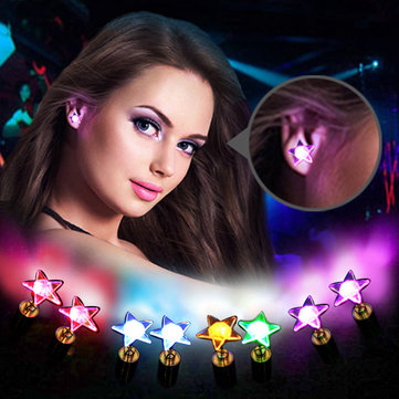 1 Pair Charm LED Earrings Light Up Star Glowing Ear Stud Christmas Gift for Her