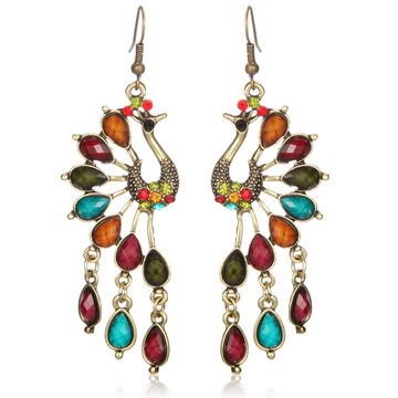 Vintage Alloy Peacock Long Crystal Tassel Earrings for Women