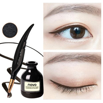 Novo Feather Shape Air Cushion Eyeliner Cream Waterproof Long Lasting Black Dark Brown Makeup