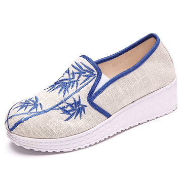 Bamboo Embroidered Canvas Platform Flat Casual Shoes