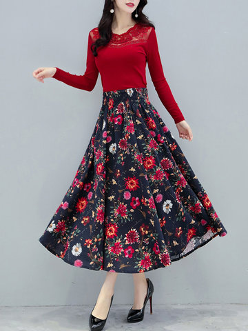 Floral Printed Cotton Maxi Skirt for Women