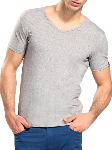 Mens Brief Style Solid Color Basic Cotton Tops V-neck Short Sleeve Casual T-shirt