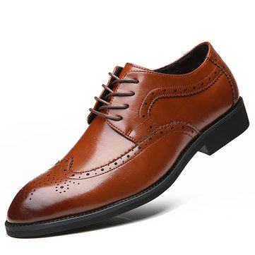 Men Microfiber Lace Up British Style Brogue Business Casual Shoes