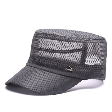 Mens Summer Mesh Breathable Quick-dry Flat Hat Outdoor Sunshade Military Baseball Caps