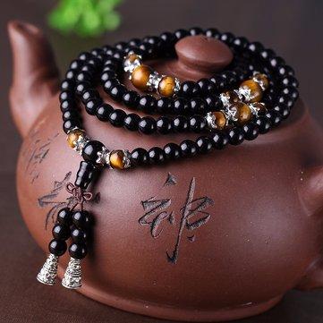 108 Буддийская молитва Мала Бисер Обсидиановый браслет