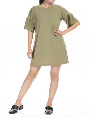 Flare Sleeve Solid Knitting Women Casual Mini Dress