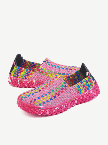Large Size Colorful Woven Rocker Sole Knitting Shoes