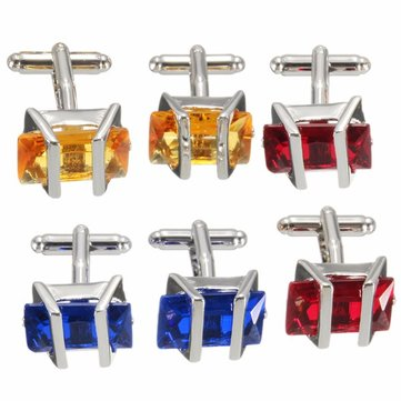 Men Rectangle Ruby Crystal Cufflinks Wedding Party Gift Shirt Suit Accessories