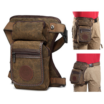 Vintage Canvas Leg Bag Casual Solid Waist Bag Multi Pocket Crossbody Bag For Men