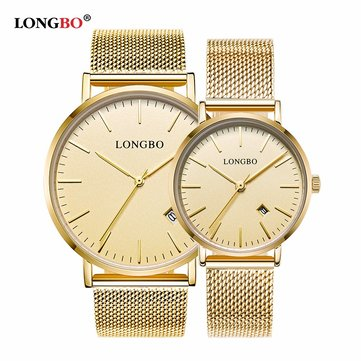 LONGBO Couple Calendar Waterproof Weave Mesh Thin Strap Watch