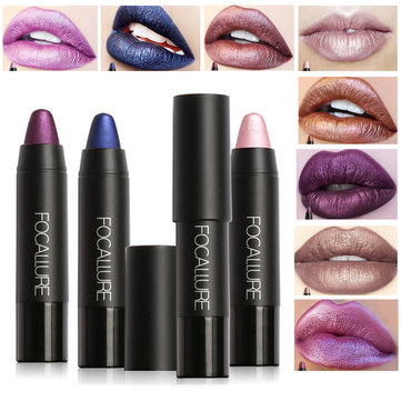 FOCALLURE Metallic Lip Stick Sexy Party Lips Color Matte Long-lasting Waterproof Lipstick