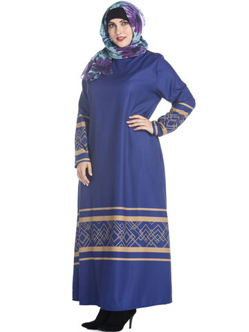 Casual Round Neck Long Sleeve Printed Pure Color Maxi Dresses