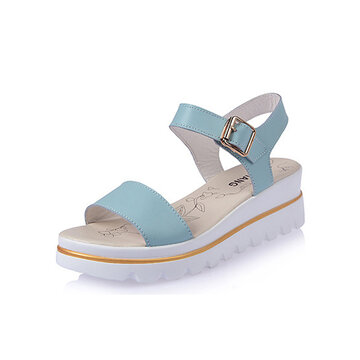 Leather Soft Comfortable Buckle Platform Wedge Heel Peep Toe Sandals
