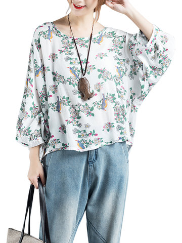 Vintage Loose Batwing Sleeve Floral Printed T-shirts For Women