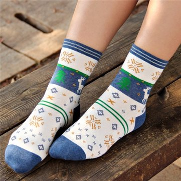 Women Men Lovers Snowflake Deer Sock Outdoor Casual Cotton Socks