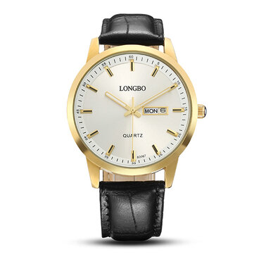 LONGBO Simple Watch Leather Week/Date Sport Watch for Couple Gift