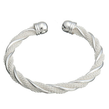 Silver Plated Twisted Wire Mesh Cuff Bracelet