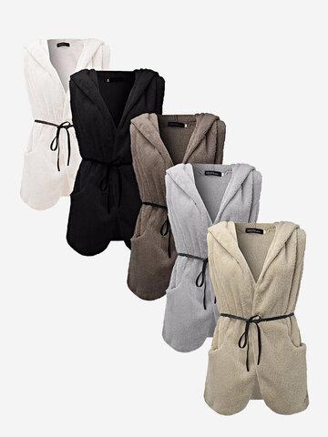Повседневный Чистый цвет с капюшоном без рукавов Плюшевые жилет куртка с поясом для женщин
