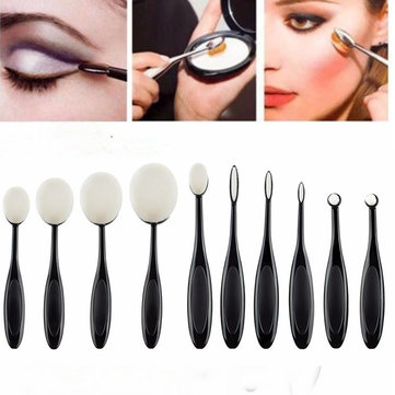 10Pcs Black White Toothbrush Shape Oval Makeup Brushes Kit Eyeshadow Blush Foundation Brush