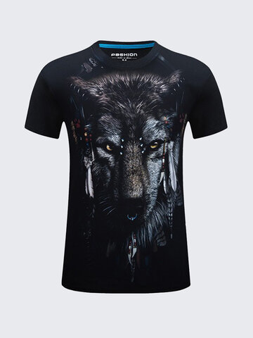 3D Printed T-shirt Men's Summer Casual Wolf Pattern Printed Round Neck Cotton T-shirt Tees