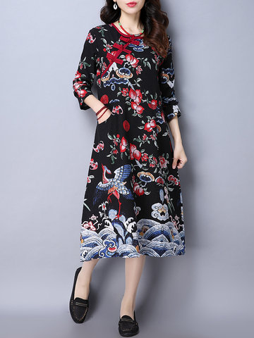 Vintage Floral Patchwork Frog Button Long Sleeve O-neck Dresses