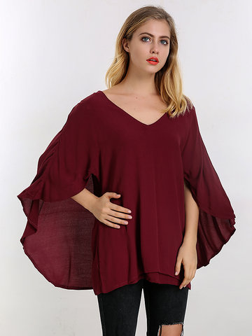 Loose Women Flounced V-Neck Blouse