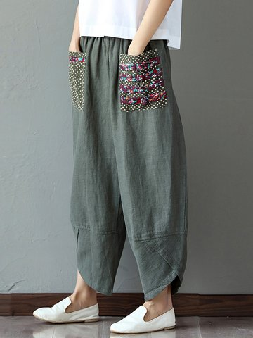 Print Patchwork Pants For Women
