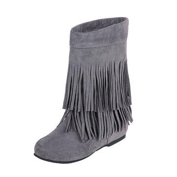 Big Size Tassel Mid Calf Pure Color Slip On Boots