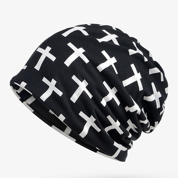 Cross Beanie Cap Collar Neck Scarves Hat Multi-function