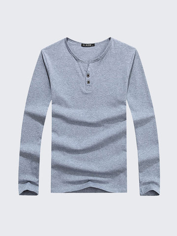 Fashion Casual Cotton Solid Color V-Neck Long Sleeve T-Shirt For Men