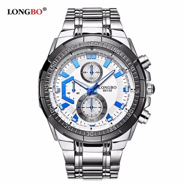 LONGBO Men Watch Stainless Steel Fluorescence Hands Waterproof Watch
