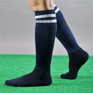 Men Women Sport Football Striped Long Socks Knee High Protection Socks