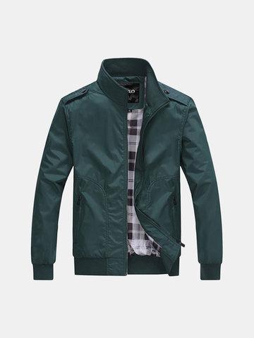 Повседневная напольная полиэфирная полиэфирная тонкая куртка Slim Fit Stand Collar Coat для мужчин