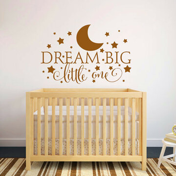 Dream Big Little One Quotes Wall Stickers Moon Stars Wall Decals Baby Bedroom Decoration