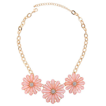 Sweet Necklace Alloy Rhinestone Big Flowers Women Necklace