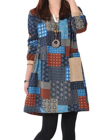 Check Patchwork Ethnic Loose Printed Long Sleeve Women Dress