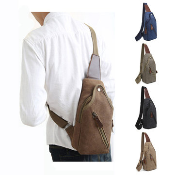 Vintage Canvas Chest Bag Casual Sling Bag Crossbody Bag Shoulder Bag For Men