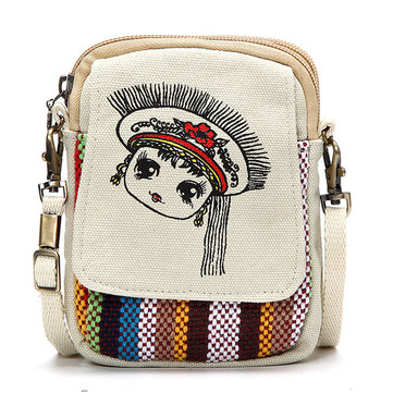 Women Chinese National Style Canvas 4.7inch Shoulder Bags Phone Bag For iPhone Samsung Xiaomi Sony