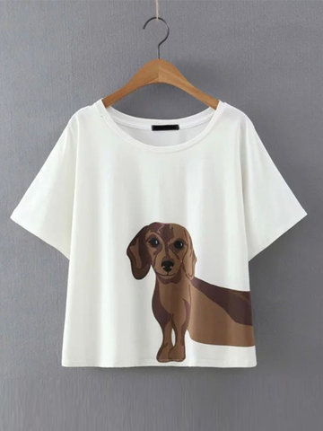 Casual Women Dog Print O-neck Short Sleeve T-shirts