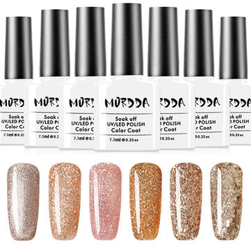 Platinum Gold Glitter UV Gel Nail Polish Soak Off Varnish Nails Art 6 Colors