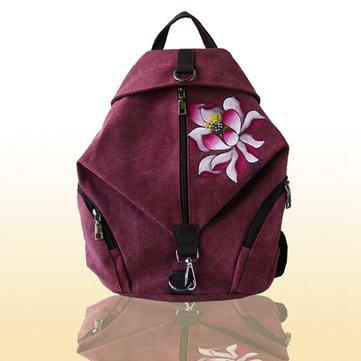Женщины Китайский стиль Ретро сумка Холст цветок Рюкзак