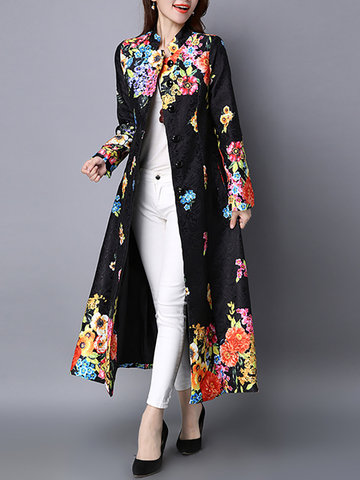 Vintage Printed Stand Collar Long Coat