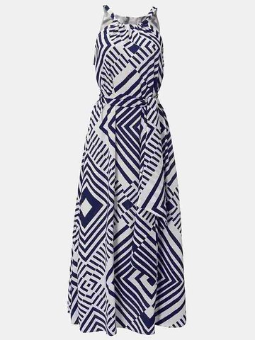 Celmia Sexy Printed Sleeveless Summer Beach Maxi Dress For Women