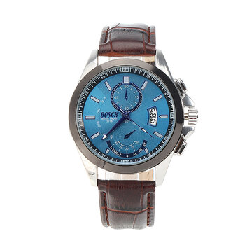 BOSCK Casual Date Leather Stainless Steel Watch