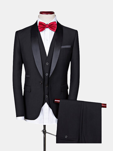 Shawl Collar Slim Business Wedding Three Pieces Suits for Men - Buy it while supplies last