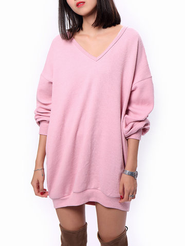 Pure Color Pullover Sweaters